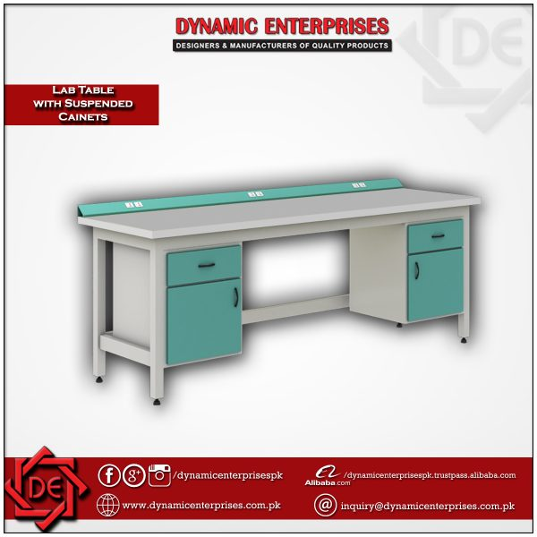 Laboratory Table with Suspended Cabinets & Electrical Panel