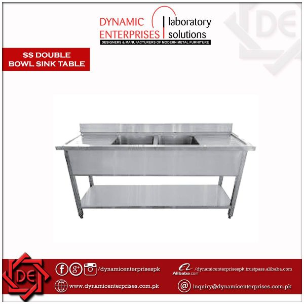 SS Double Bowl Sink Table