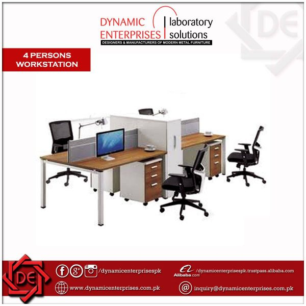 4 Persons Workstation with Partitions