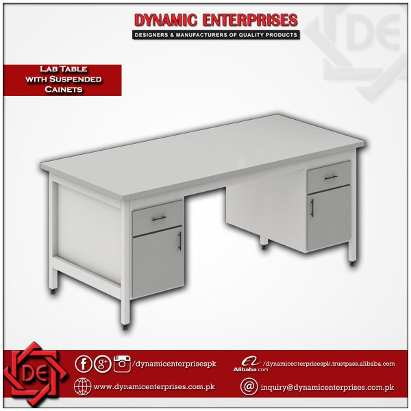 Laboratory Table with Suspended Cabinets